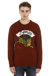 Crew-neck wool-cotton blend sweater, Crew necks sweaters Kenzo man