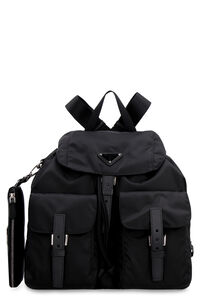 Leather details nylon backpack, Backpack Prada woman
