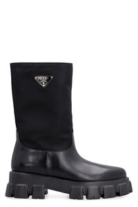 Leather and fabric boots, Ankle Boots Prada woman