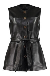 Leather long vest, Leather Jackets Gucci woman
