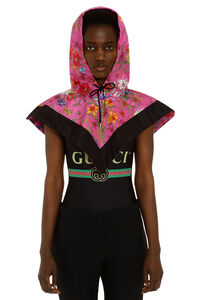 Flora print nylon hood, Hats Gucci woman