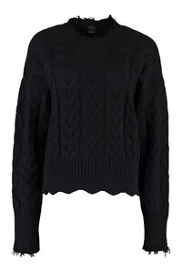Chianti cable knit pullover, Crew neck sweaters Pinko woman