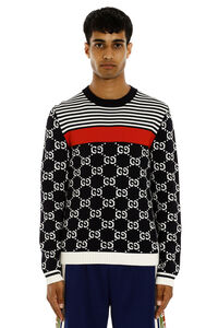 GG jacquard cotton sweater, Crew necks sweaters Gucci man