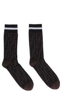 Cotton jacquard knee-high socks, Socks Fendi woman