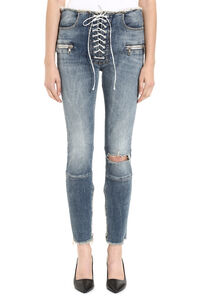 Distressed high-rise skinny jeans, Skinny Leg Jeans Unravel Project woman
