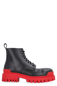 Strike leather combat boots, Lace-up boots Balenciaga man