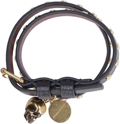 Leather bracelet with medallion and skull