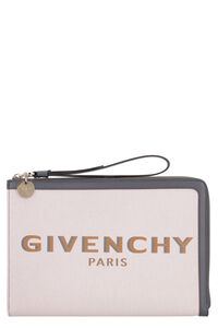 Bond leather and canvas flat pouch, Pouches Givenchy woman