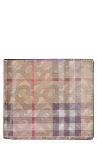 Leather flap-over wallet, Wallets Burberry man