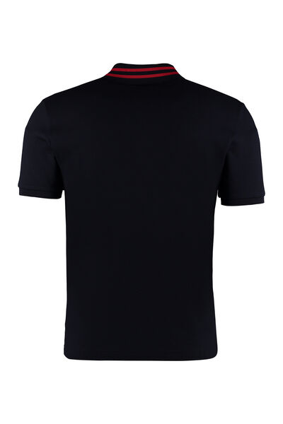 Short-sleeved cotton pique polo shirt