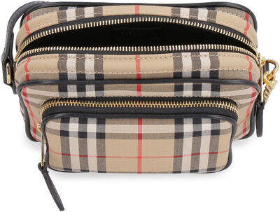 Checked canvas camera bag