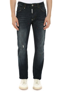 Ripped super straight fit jeans, Straight jeans Philipp Plein man