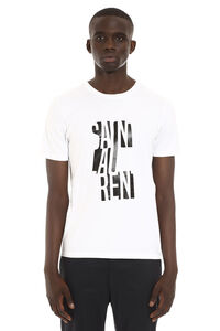 Logo print cotton t-shirt, Short sleeve t-shirts Saint Laurent man