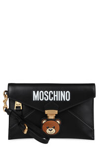 Teddy Bear embroidered leather clutch, Clutch Moschino woman