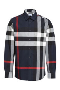 Checked stretch poplin shirt, Checked Shirts Burberry man