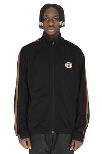 Patch detail full-zip sweatshirt, Zip through Gucci man