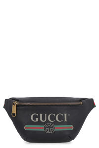 Logo printed leather belt bag, Beltbag Gucci man