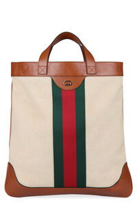 Smooth leather and canvas tote bag, Totes Gucci man