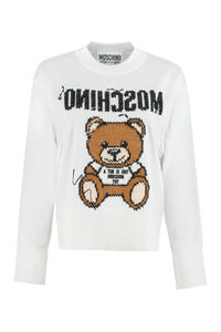 Embroidered cotton sweater, Crew neck sweaters Moschino woman