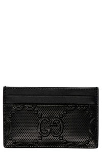 Embossed logo detail leather card holder, Wallets Gucci man