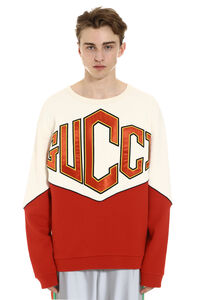 Cotton hoodie with embroidered logo patch, Sweatshirts Gucci man