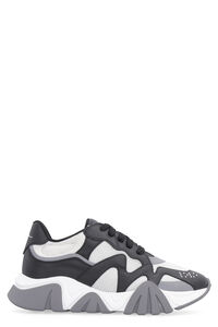 Mesh and leather low-top sneakers, Low Top Sneakers Versace man
