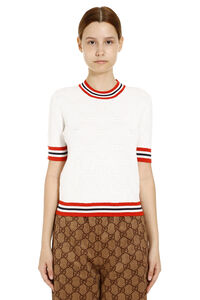 T-shirt in maglia con logo all-over, T-shirt Gucci woman