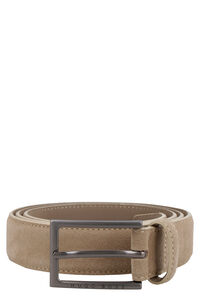 Suede belt with metal logoed buckle, Belts BOSS man