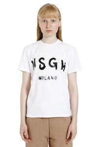 Logo print cotton t-shirt, T-shirts MSGM woman