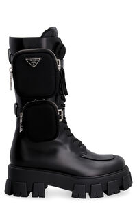 Prada Monolith leather combat boots, Knee-high Boots Prada woman