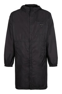 Hooded techno fabric raincoat, Raincoats And Windbreaker Prada man