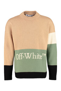 Logo intarsia color-block pullover, Crew necks sweaters Off-White man