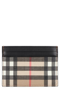 Vintage checked leather card holder, Wallets Burberry man