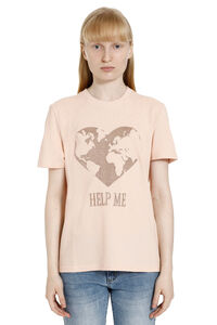 Embroidered cotton T-shirt, T-shirts Alberta Ferretti woman