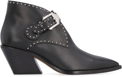 Pointy-toe cowboy ankle-boots with studs