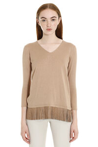 Polder leather fringes knit sweater, V neck sweaters Max Mara Studio woman