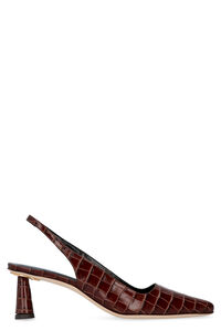 Diana croco print leather slingback pumps, Mid Heels BY FAR woman