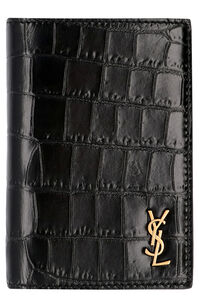 Printed leather card holder, Wallets Saint Laurent man