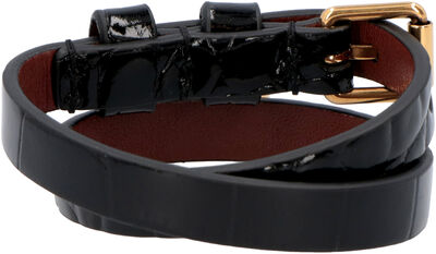 Leather bracelet with metal logo pendant and skull