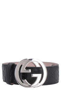 Leather belt with interlocking G buckle, Belts Gucci man