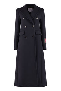 Wool blend double-breasted coat, Long Lenght Coats MSGM woman