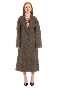 Herringbone tweed oversize coat, Long Lenght Coats Red Valentino woman