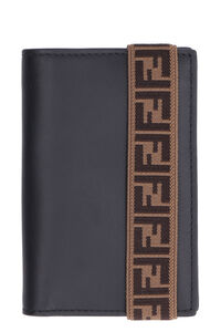 Leather flap-over wallet, Wallets Fendi man