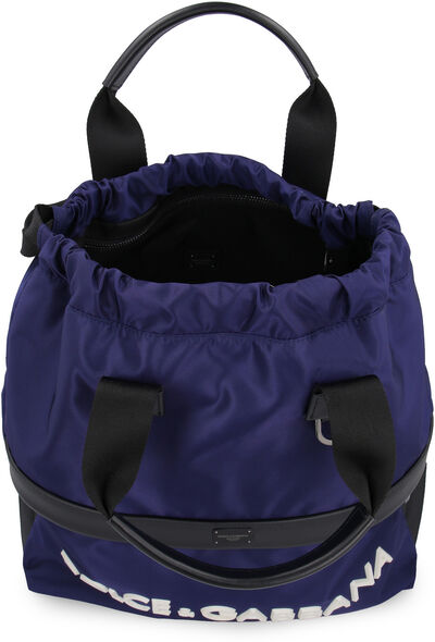 Nylon backpack with leather details