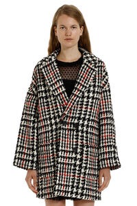 Virgin wool pied-de-poule coat, Knee Lenght Coats Red Valentino woman