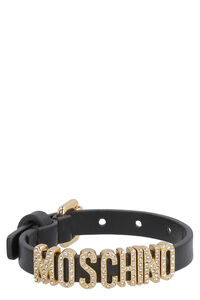 Logo charm leather bracelet, Bracelets Moschino woman