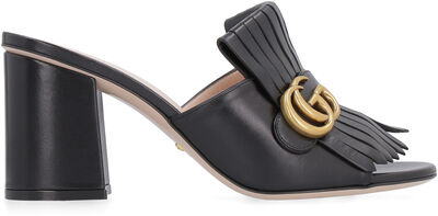 Leather sandal with logo detail