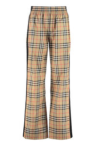 Printed stretch cotton trousers, Wide leg pants Burberry woman