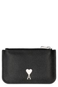 Pebbled calfskin card holder, Wallets AMI PARIS man