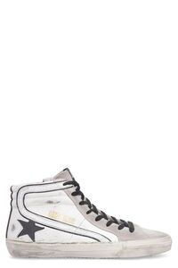 Slide high-top leather sneakers, High Top Sneakers Golden Goose man